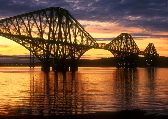 (1.5 mile) Forth Railway Bridge, the world's first major steel bridge,